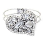 Aris by Treska Multi-Stone Crystal Heart Cuff Bracelet