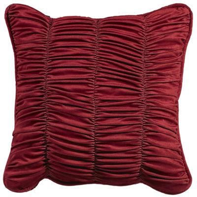 HiEnd Accents Lorenza Shirred Velvet Square Decorative Pillow