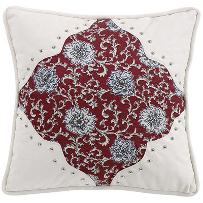 HiEnd Accents Bandera Floral Scalloped Square Decorative Pillow