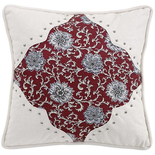 HiEnd Accents Bandera Floral Scalloped Square Decorative Pillow