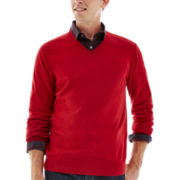 Claiborne® Cotton-Cashmere V-Neck Sweater
