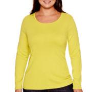 Stylus™ Long-Sleeve Crewneck T-Shirt - Plus