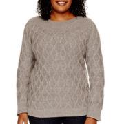 St. John's Bay® Long-Sleeve Boatneck Diamond Pattern Sweater - Plus