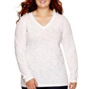 Arizona Long-Sleeve V-Neck T-Shirt - Juniors Plus