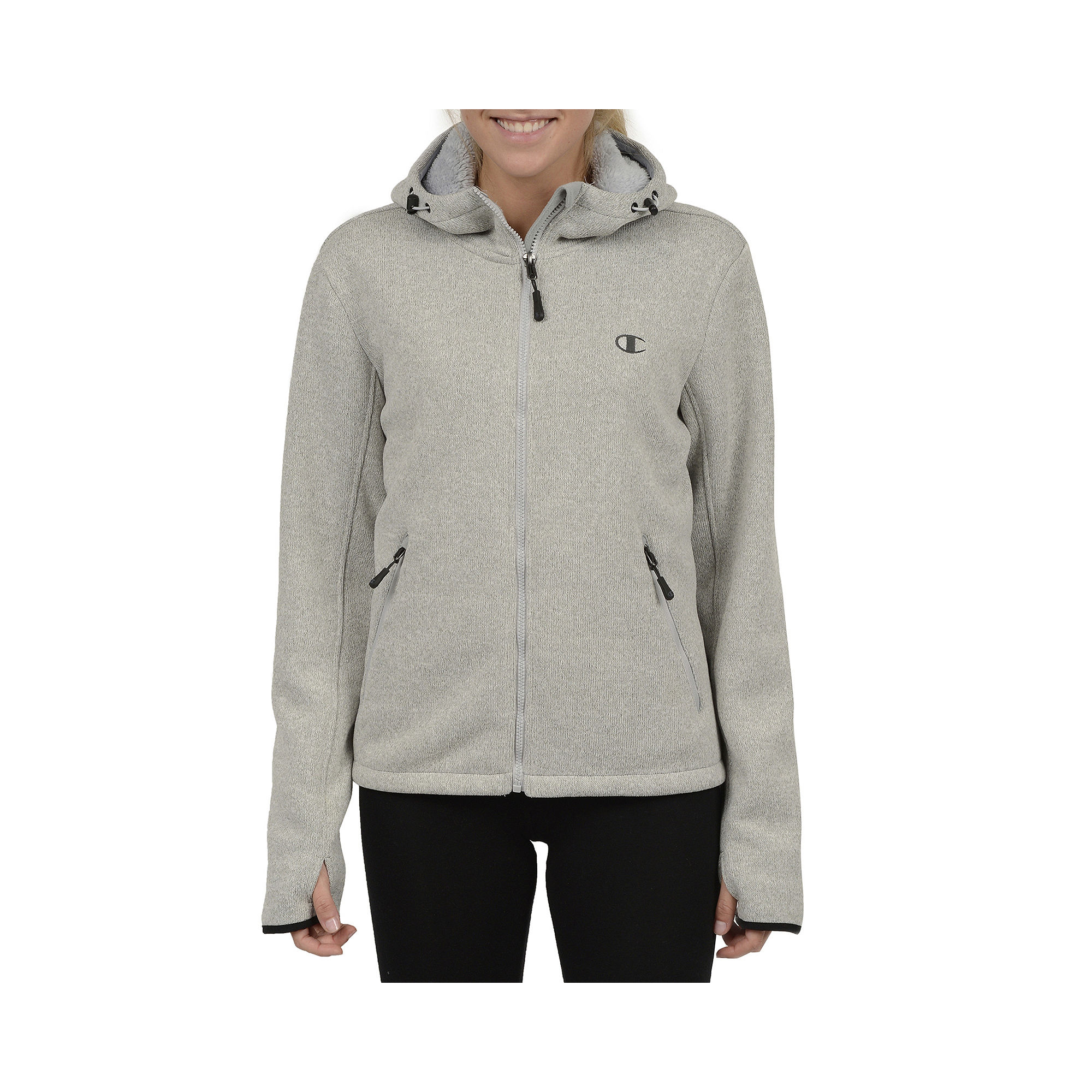 Champion Sweater Fleece Hooded Jacket - Plus plus size,  plus size fashion plus size appare