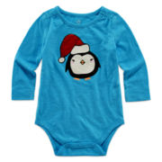 Okie Dokie® Long-Sleeve Holiday Bodysuit - Baby Girls newborn-24m