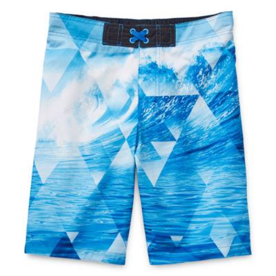 Arizona Boys Swim Little & Big Boys Waves Board Shorts, Color: Blue -  JCPenney