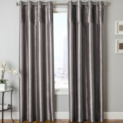 Colfax Faux-Silk Grommet-Top Curtain Panel