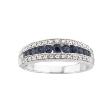 jcpenney.com | I Said Yes™ 1/8 CT. T.W. Certified Diamond & Sapphire Band