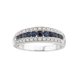 I Said Yes™ 1/8 CT. T.W. Diamond & Sapphire Band