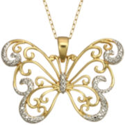 Diamond-Accent Filigree Butterfly In 14K Gold Over Sterling Silver Necklace