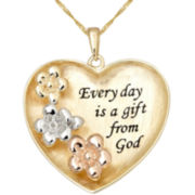 Diamond Accent Heart-Shaped Prayer Pendant 14K Gold Over Sterling Silver