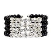Vieste Crystal & Jet Black Bead Cuff Bracelet
