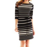 Liz Claiborne Striped Belted Dress