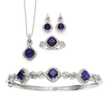 jcpenney.com | Lab-Created Amethyst & Cubic Zirconia Silver over Brass 4-pc. Boxed Jewelry Set