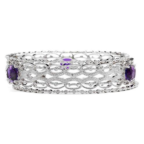 Lab-Created Amethyst & Diamond-Accent 3-pc. Bangle Bracelet Set