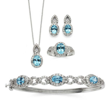 jcpenney.com | Genuine Blue Topaz & Cubic Zirconia Boxed 4-pc. Jewelry Set