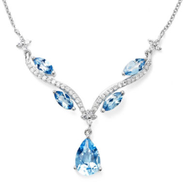 jcpenney.com | Genuine Blue Topaz & Lab-Created White Sapphire Y Necklace