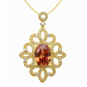 Alexandra Gem Orange & White Cubic Zirconia Pendant