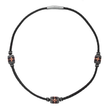 jcpenney.com | Mens Stainless Steel & Leather Necklace