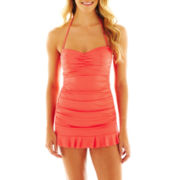 a.n.a® Shirred Bandeau 1-Piece Swimdress