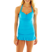 a.n.a® Shirred Halter 1-Piece Swimdress