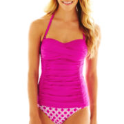 jcp™ Solid Twist Side-Panel Tankini  Swim Top