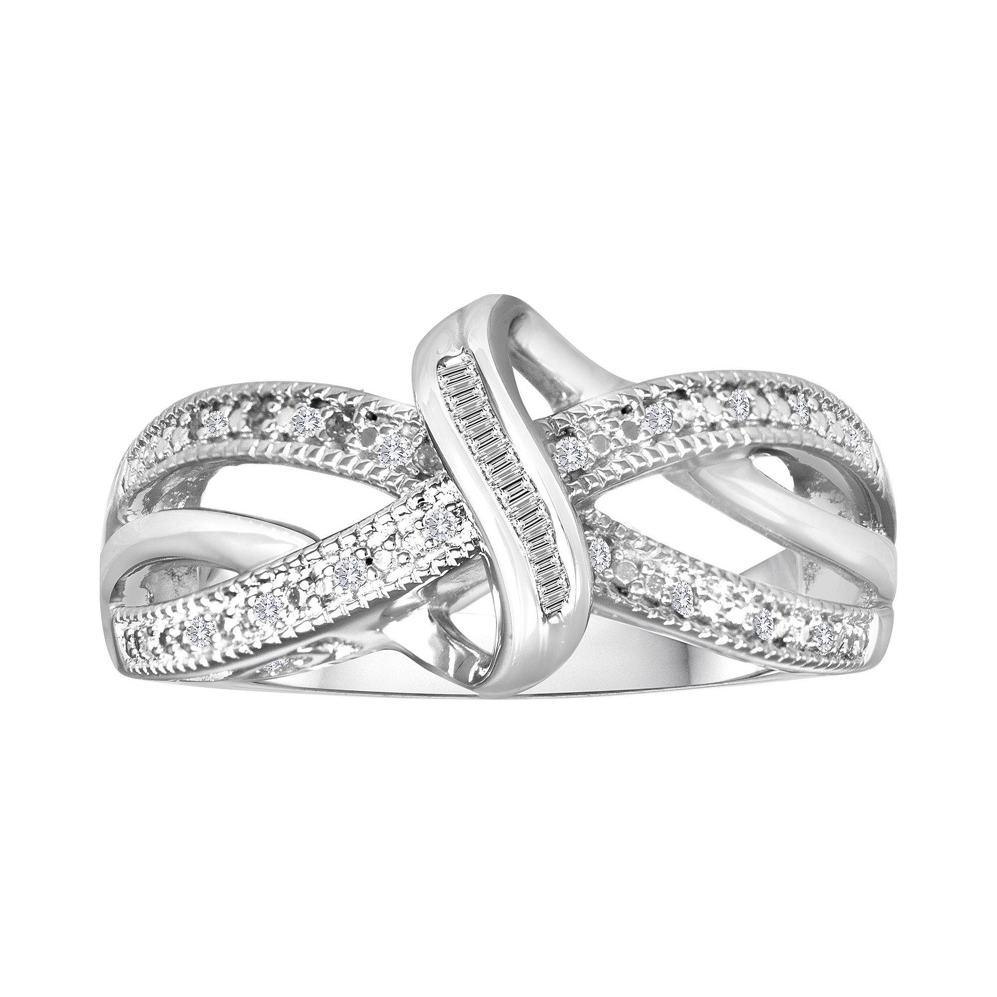 1/10 CT. T.W. Diamond Vintage Twist Ring plus size,  plus size fashion plus size appare