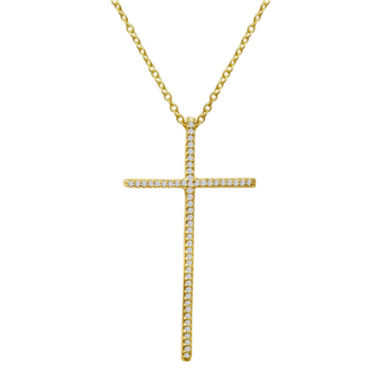 jcpenney.com | 1/5 CT. T.W. Diamond 14K Yellow Gold Over Sterling Silver Cross Pendant Necklace