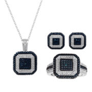 1/10 CT. T.W. White & Color-Enhanced Blue Diamond 3-pc. Jewelry Set