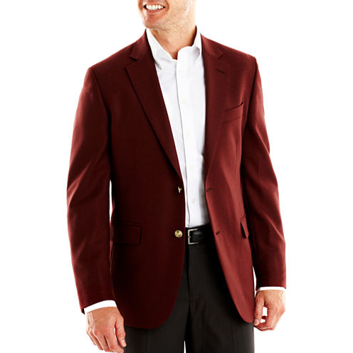 Stafford® Executive Burgundy Hopsack Blazer - Classic