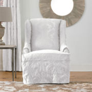 SURE FIT® Matelassé Damask 1-pc. Wing Chair Slipcover