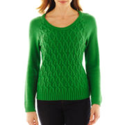 Liz Claiborne Long-Sleeve Cable Knit Sweater