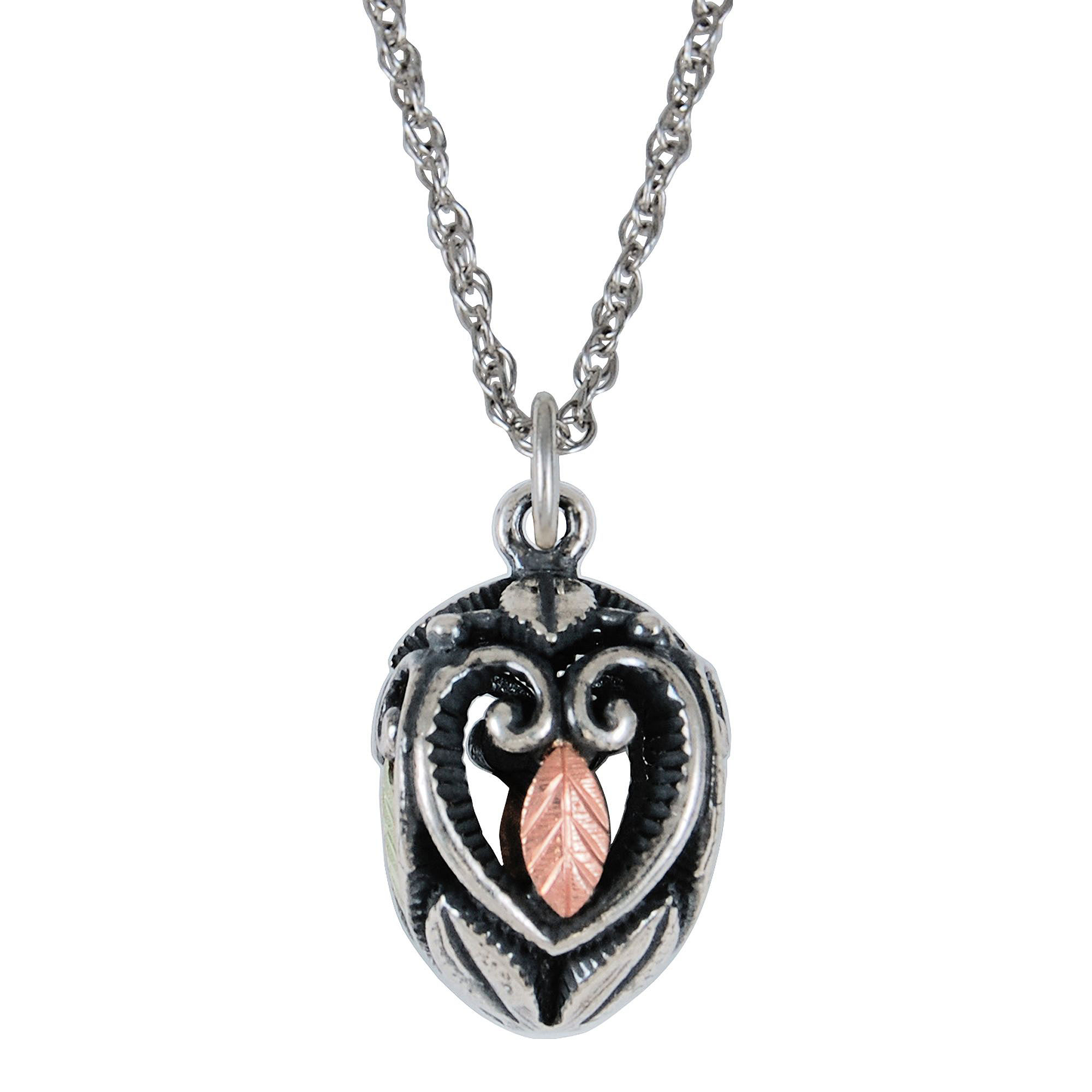 Black Hills Gold Jewelry by Coleman Sterling Silver Oval Pendant Necklace