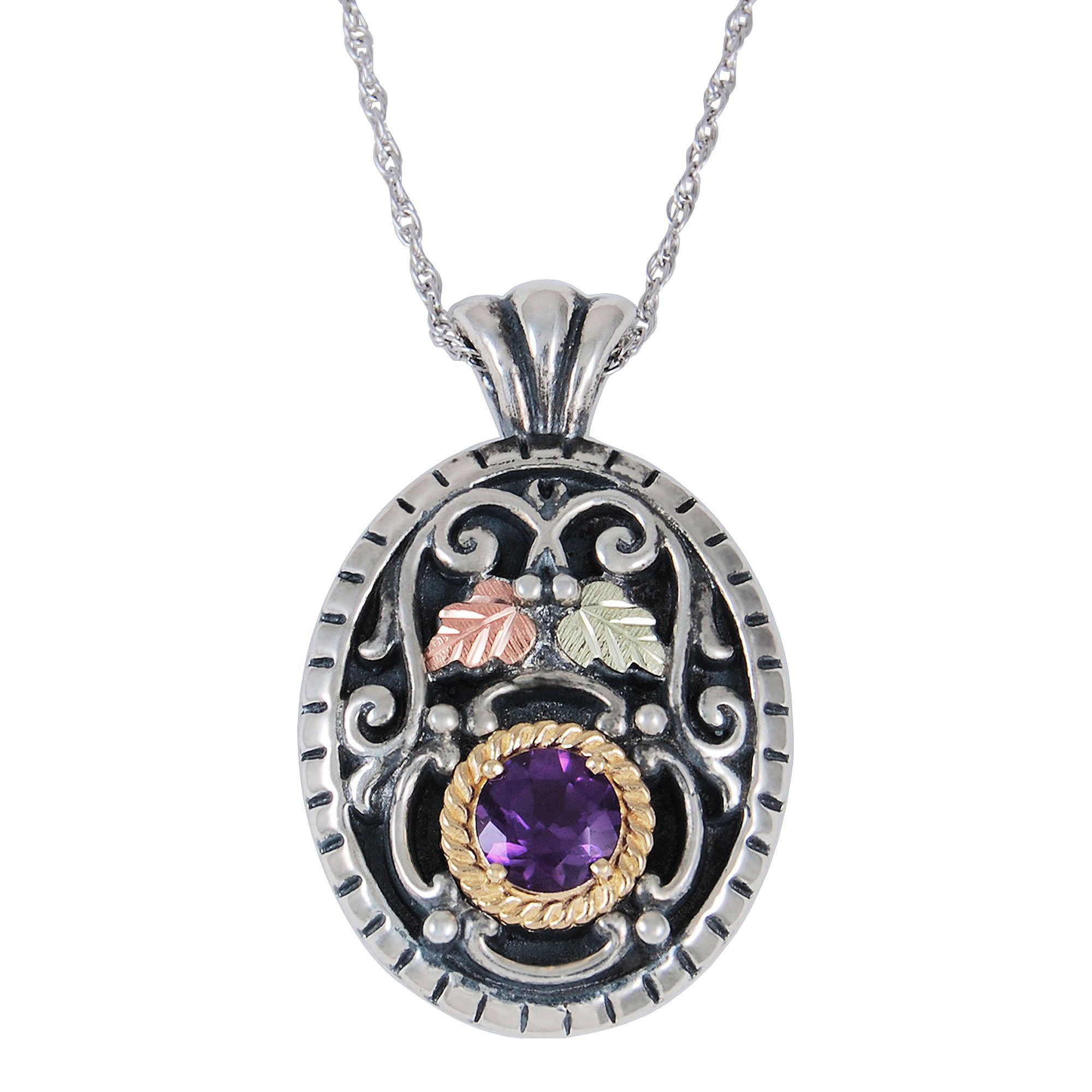 Black Hills Gold Jewelry by Coleman Genuine Amethyst Pendant Necklace