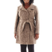 Collezione Belted Tweed Coat - Plus