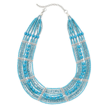 jcpenney.com | Mixit™ Aqua Seed Bead Collar Necklace