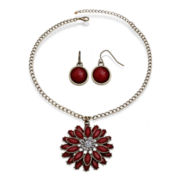 Mixit™ Gold-Tone Red Flower Pendant Necklace and Earring Set