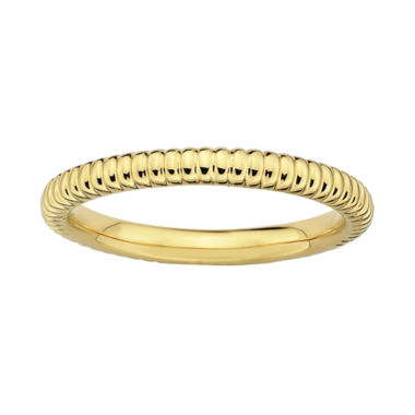 jcpenney.com | Personally Stackable 18K Yellow Gold Over Sterling Silver Textured Ring