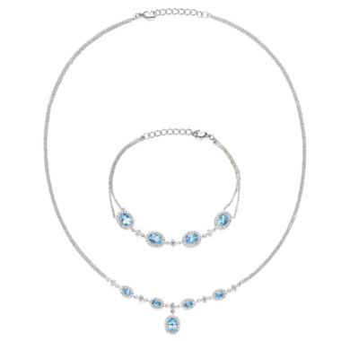 jcpenney.com | Genuine Blue Topaz & Cubic Zirconia Necklace and Bracelet Set