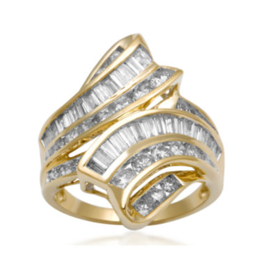 jcpenney.com | 2 CT. T.W. Diamond 10K Yellow Gold Bypass Cocktail Ring