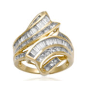 2 CT. T.W. Diamond 10K Yellow Gold Bypass Cocktail Ring