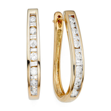 jcpenney.com | 1/2 CT. T.W. Diamond 10K Yellow Gold Hoop Earrings