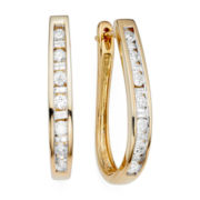 1/2 CT. T.W. Diamond 10K Yellow Gold Hoop Earrings