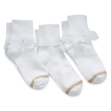 jcpenney.com | Gold Toe® 3-pk. Turn-Cuff Dress Socks - Girls