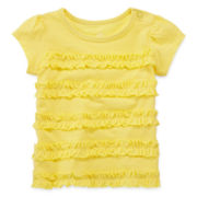 Okie Dokie® Short-Sleeve Ruched Knit Tee - Girls newborn-9m