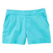 Okie Dokie® Ruffle-Pocket Flat-Front Shorts - Girls 4-6x