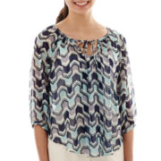 by&by 3/4-Sleeve Chiffon Print Peasant Top