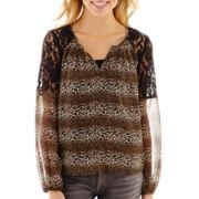 Olsenboye® Long-Sleeve Chiffon and Lace Peasant Top