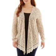 Arizona Long-Sleeve Crochet-Hem Cardigan - Plus
